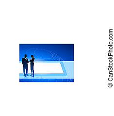Business executives on blue internet background