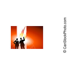 Business executives or red internet background with arrows