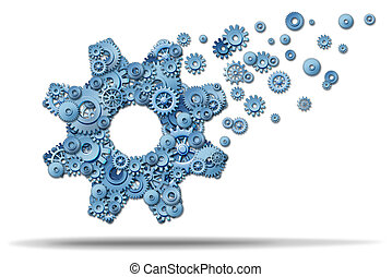 Business expansion and growing a vibrant business by showing leadership and a clear strategy with planning to develop new growth opportunities overseas or developing markets with a large gear made of smaller cogs spreading upward to success.