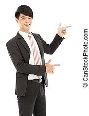 business, exposition, jeune, doigt, professionnel, homme, quelque chose