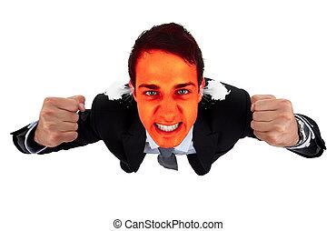 business, fâché, figure, 2, exploser, rouges, homme
