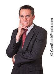business, fâché, froncer sourcils, milieu, complet, âge, ...