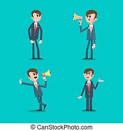 business, fâché, illustration, directeur, cris, megaphone., vecteur, boss., man.