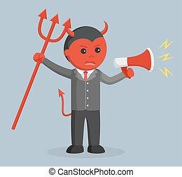 business, fâché, mal, tenue, porte voix, homme
