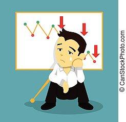 Business fail. Vector flat illustration