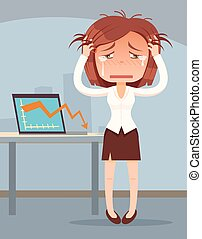 Business fail. Graph down. Crying business woman character....