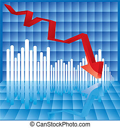 Business failure - Vector Illustration of a graph where the...