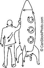business, fait, blanc, vecteur, arrière-plan., concept., isolé, lignes, noir, tenue, flèches, dessiné, griffonnage, fusée, croquis, homme affaires, main, démarrage, illustration, grand