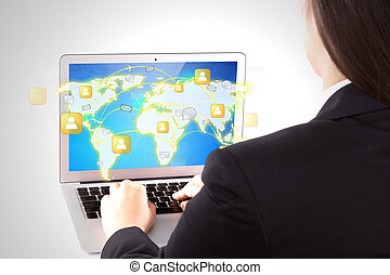 Business female hands writing on white laptop shoe social network