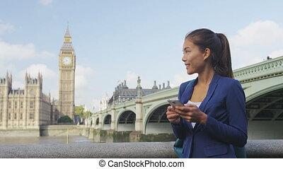 business, femme affaires, carte, utilisation, app, voyage, ...