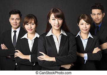 business, femme affaires, jeune, réussi, équipe