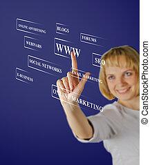 business, femme affaires, moderne, virtuel, boutons, urgent, fond, type