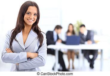 business, femme affaires, portrait, réussi, équipe bureau, réunion