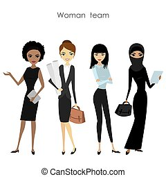 business, femme, ensemble, équipe, quatre, femme, dessin animé