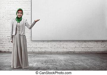 Business, femme, quelque chose, musulman, exposition