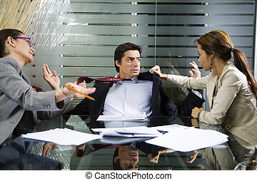 business fight - Office life: business team having a fight