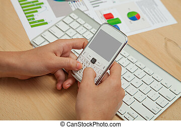 Business, Finanace Diagrams and mobile phone