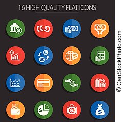 business finance 16 flat icons