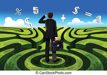 A vector illustration of a businessman in maze facing a financial decision