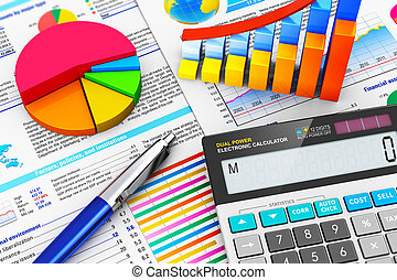 Business finance, tax, accounting, statistics and analytic research concept: macro view of office electronic calculator, bar graph charts, pie diagram and ballpoint pen on financial reports with colorful data with selective focus effect
