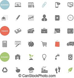 Business, finance and ecology icons set