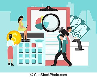 Business finance audit vector illustration. Systematic ...