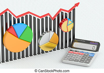 Business finance, banking and accounting concept, charts with calculator. 3D rendering