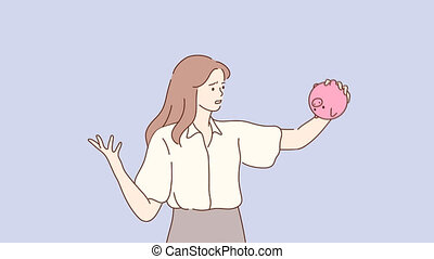 Business, finance, poverty concept. 3d graphic video portrait of young unhappy frustrated poor businesswoman manager shaking piglet bank with no money. Financial bankruptcy motion design footage.