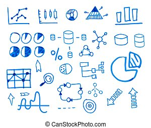 Business finance doodle hand drawn. sketched elements. Concept - graph, chart, pie, arrows signs. Isolated on white background. Unusual design.