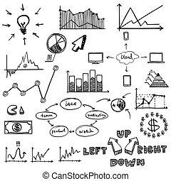 business finance doodle hand drawn elements. Concept -...