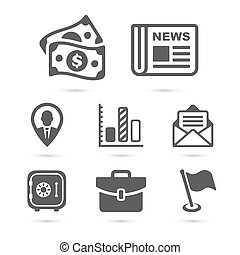 Business finance icons isolated on white. Vector