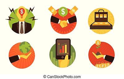 Business finance icons on white background set 1. Vector illustration