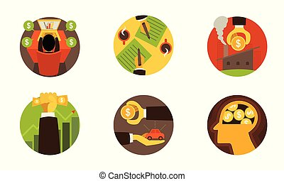Business finance icons on white set 2. Vector illustration