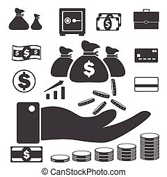 Business finance icons set, Money