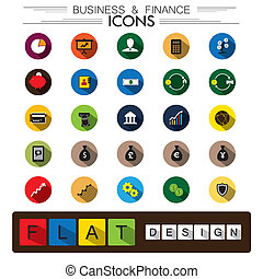 business, finance & internet e-commerce flat design vector icons