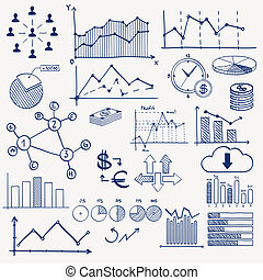 Business finance management infographics doodle hand draw elements. Concept - graph chart pie arrows signs social media earning money.