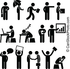 Business Finance Office Workplace - A set of pictogram...