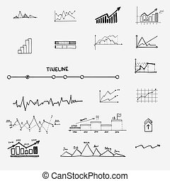 business finance statistics infographics doodle hand drawn elements. Concept - graph, chart arrows signs search earnings money profit.