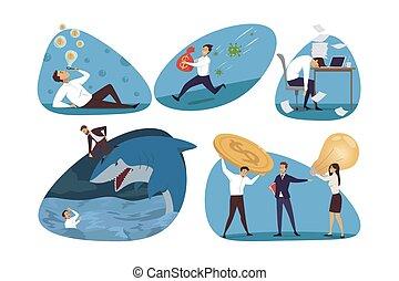 Business, finance, stress set concept