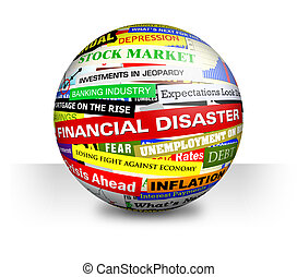 Business Financial Bad Economy Headlines - A 3d ball on a...