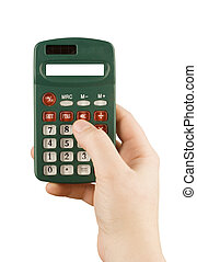 business financial calculator machine hold in woman hand