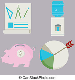 Business Financial Flat Icon Set