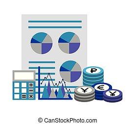 business financial report chart calculator coins