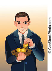 Business financial savings - A vector illustration of a...