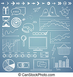 Business and finanse hand draw doodle elements graph chart and other.