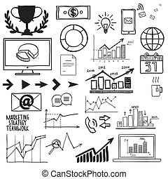 Business, finanse hand draw doodle elements graph chart and other.
