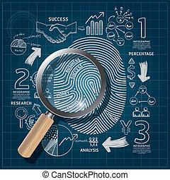 Business Fingerprint doodles line drawing blueprint success strategy plan idea with magnifier. Vector illustration. Focus Success Concept.