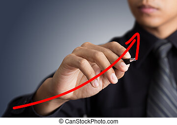 Business, flèche, croissance, homme affaires, levée, Représenter, dessin