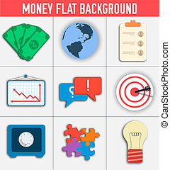 business flat icon set. Vector Illustration design