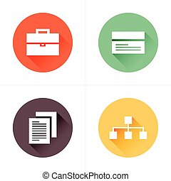 business  flat icons 4 color